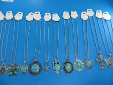 US SELLER-15 necklaces vintage style jewelry turquoise gemstone pendant necklace