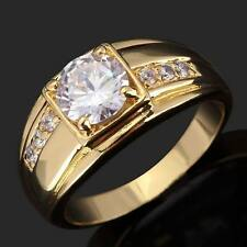 Women Mens 10k Yellow Gold Filled  White Sapphire Jewelry Wedding Dress Ring SZ