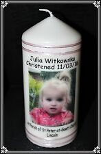 Cellini Candles Personalised Baptism or Christening  Baby Photo Candle Handmade