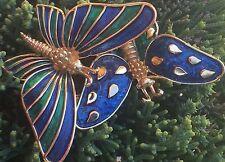 BOUCHER Signed Jewelry Vintage Brooch Pin Butterfly Enamel Gold Tone Vtg Blue 2