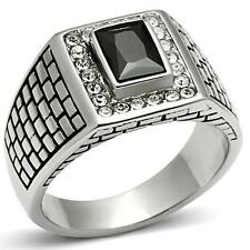GIFTS 4 MEN Size 12 X Stainless Steel Silver Tone Textured Black CZ Signet Ring