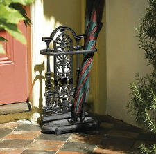 Antique Style Brown Ornate Vintage Cast Iron Umbrella Stand/Walking Stick Stand