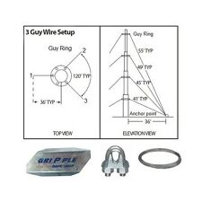 40' FT Foot Telescoping Antenna Mast Guy Wire & Clamps Kit 3 Way Down Guy Wire