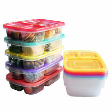 Bento lunch box food storage for kids portion control [5 PACK]3-Compartment