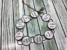 "Harry Potter Dumbledore Quote ""Happiness can be found"" Charm Bracelet 8 in long"