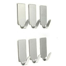 6x Adhesive Kitchen Wall Door Stainless Steel Square Stick Holder Hook Hangers