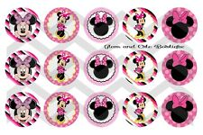 15-1in. Precut Bottle Cap Images Pink Minnie Mouse