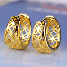 Amazing 9K Yellow Gold Filled Openwork Womens Hoop Earrings,Z5227