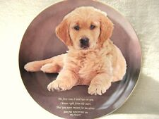 "DANBURY MINT GOLDEN RETRIEVER 8"" PLATE PAWPRINTS ON MY HEART WITH 22ct GOLD RIM"