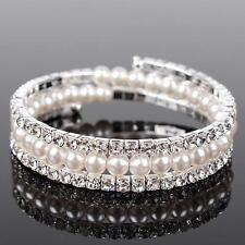 Matrimonio Braccialetto Sposa Strass Perle color argento elastico P1S2