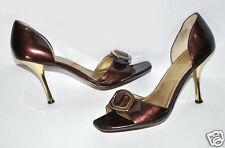 Tahari 'Riley' Bordeaux Wine & Gold Patent Open Toe Heels Sz.9