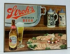 VINTAGE DETROIT STROH'S BEER BAR METAL ADVERTISING SIGN CARDBOARD BACK.