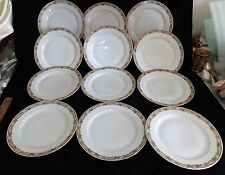 "CT Altwasser 2457 Germany/ Silesia 11 Dinner Plates 9 3/4"" Blue Tan Panels Roses"