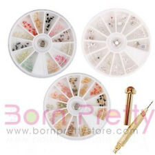 3 Box Nagelpiercing Nail Art Piercing Charms Dekoration Kit & 1x Piercingbohrer