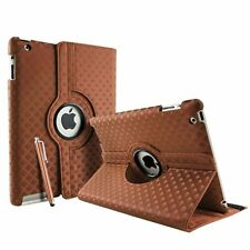Brown Fashion Diamond Leather 360° Rotating Stand Case Cover For iPad 2/3/4