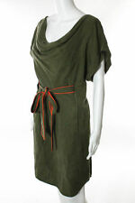 New NWT Women's XS VINCE CAMUTO Army Green Belted Short Sleeve Cowl Neck Dress