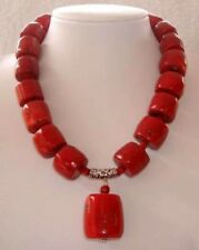 Amazing Red Cylinder Coral Beads Gemstones Fashion Jewelry Necklace 18""