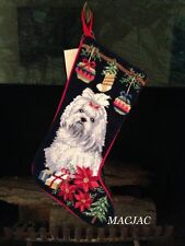 Maltese Dog Needlepoint Christmas Stocking NWT