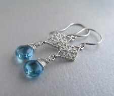Swiss Blue Topaz Drop with Silver Filigree Sterling Silver Earrings FREE POSTAGE