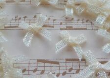100! Cute 'n Tiny 15mm Organza Glitter Bows - Pale Ivory Cream Bow - 3mm Ribbon