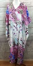 RIVIERA SUN WOMEN PLUS ONE FREE SIZE KAFTAN CAFTAN DRESS TUNIC SEQUIN PINK BLACK