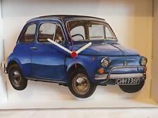 BLUE FIAT 500 CAR WALL CLOCK. NEW AND BOXED.