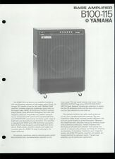Rare Original Factory Yamaha B100-115 Bass Guitar Amplifier Dealer Sheet Page
