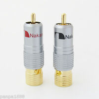 4x High Quality Gold Plated Nakamichi RCA Plug Locking Free solder A/V connector