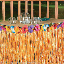 Flower Edged Artificial Grass Table Skirt Hawaiian Tropical Luau Party Tableware