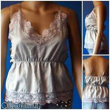 Vintage 80s Silky Camisole Top Vest Pink Lace Lingerie Sexy Ann Summer 10/12