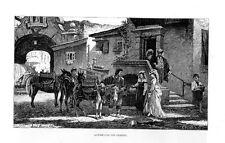 Stampa antica CAMPAGNA di ROMA Donna e contadini con muli o asini 1876 Old print