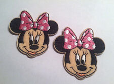 Lot of 2 Minnie Mouse w/PINK BOW Embroidered Iron On Applique patch