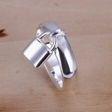-UK-  Silver Plated Band Ring With Dangling Padlock, Love Ring Latch (089)
