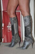 """PARTY """"ALBERTO GATTI""""  REAL LEATHER, LONG BOOTS,GREY,COLORFUL COMBINATION,UK-4"""