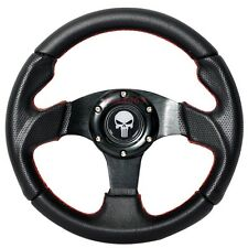 280mm 6-Bolt Steering Wheel Black PVC Leather Red Stitching Punisher Emblem