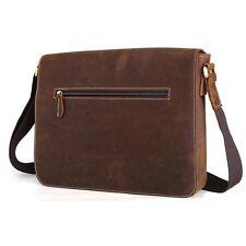 Men's Real Bull Leather Shoulder School Bag Crossbody Satchel iPad Book A4 Case