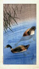 Set of 2 x Japanese Woodblock Reproduction Wild Ducks Prints Painting Scenes