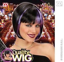 Ladies Black Bob Wig With Neon Purple Streak Goth Halloween Fancy Dress