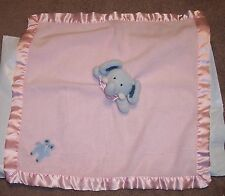 "Blankets & Beyond Blue Elephant Pink Plush Baby Security Blanket Lovey 18"" USED"