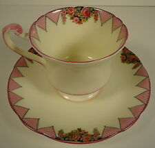 Royal Paragon Deco Styling Cream & Pink Delicate Cup & Saucer Valances of Roses
