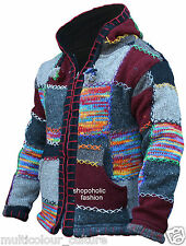 Multi Coloured Festival Wool Patchwork Knit Hippie Hoodie Jacket Boho Cardigan