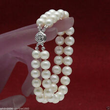 """Genuine 2 Rows 7-8mm White Pearl Bracelet 7.5"""" Cultured Freshwater"""