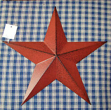 "Rustic Primitive Burgundy Tin 12"" Barn Star Country Home decor Farmhouse charm"