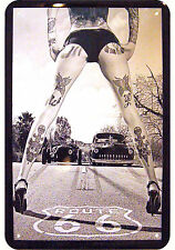 TATTOO PINUP ROUTE 66 DEKO MOTIV BLECHSCHILD US ROUTE 66 TIN SIGN