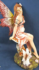 Pregnant Fairy w/winged Rabbit hand painted mythical fantasy figurine