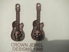 5 BRONZE TONE SKULL GUITAR CHARMS BEADS MUSICIAN INSTRUMENTS MUSIC PENDANT