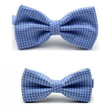 Men White Polka Dots Adjustable Bow Tie Match Children Boy Pre-tied Bowtie Set