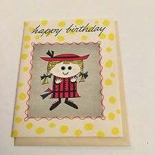 Vintage Greeting Card Birthday Cute Girl Blond Pig Tails