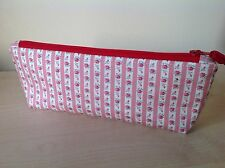 Handmade Make-Up Bag Vintage Style Fabric Pink Cream Floral Stripe Lined Padded