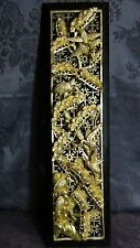 ANTIQUE 19c CHINESE DEEP RELIEF WOOD CARVED PIERCED GILT TEMPLE PANEL W/CRANES